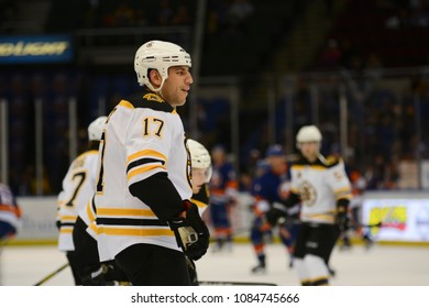 UNIONDALE, NEW YORK, UNITED STATES – Nov. 2, 2013: NHL Hockey: Milan Lucic, of the Boston Bruins, during warm-ups. Bruins vs. New York Islanders at Nassau Veterans Memorial Coliseum.