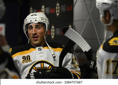 UNIONDALE, NEW YORK, UNITED STATES – Nov. 2, 2013: NHL Hockey: Brad Marchand, Milan Lucic, and Shawn Thornton (Boston Bruins) on the runway before game against New York Islanders at Nassau Coliseum.