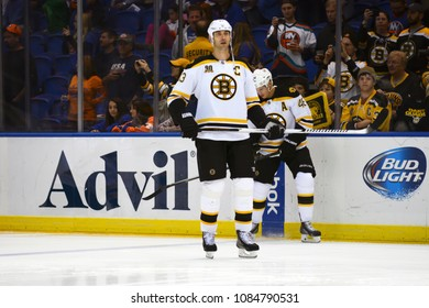 UNIONDALE, NEW YORK, UNITED STATES – Nov. 2, 2013: NHL Hockey: Zdeno Chara, of the Boston Bruins, during warm-ups. Bruins vs. New York Islanders at Nassau Veterans Memorial Coliseum.