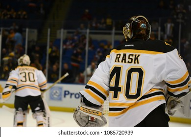 UNIONDALE, NEW YORK, UNITED STATES – Nov. 2, 2013: NHL Hockey: Tuukka Rask and Chad Johnson, of the Boston Bruins, during warm-ups. Bruins vs. New York Islanders at Nassau Veterans Memorial Coliseum.