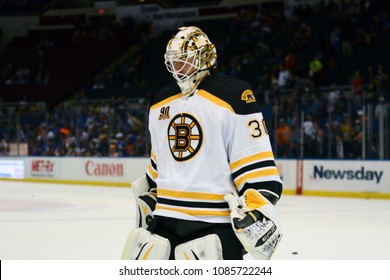 UNIONDALE, NEW YORK, UNITED STATES – Nov. 2, 2013: NHL Hockey: Goalie Chad Johnson, of the Boston Bruins, during warm-ups. Bruins vs. New York Islanders at Nassau Veterans Memorial Coliseum.