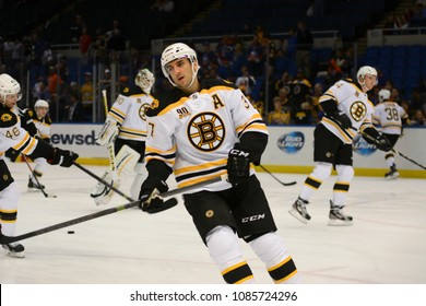 UNIONDALE, NEW YORK, UNITED STATES – Nov. 2, 2013: NHL Hockey: Patrice Bergeron, of the Boston Bruins, during warm-ups. Bruins vs. New York Islanders at Nassau Veterans Memorial Coliseum.