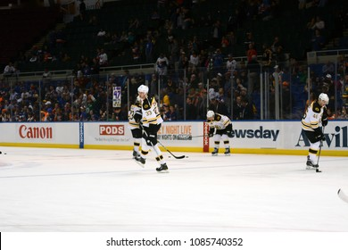 UNIONDALE, NEW YORK, UNITED STATES – Nov. 2, 2013: NHL Hockey: Zdeno Chara with his Boston Bruins teammates during warm-ups prior to a game against New York Islanders at Nassau Coliseum.