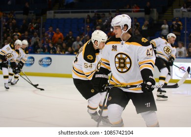 UNIONDALE, NEW YORK, UNITED STATES – Nov. 2, 2013: NHL Hockey: Torey Krug with his Boston Bruins teammates during warm-ups prior to a game against New York Islanders at Nassau Coliseum.