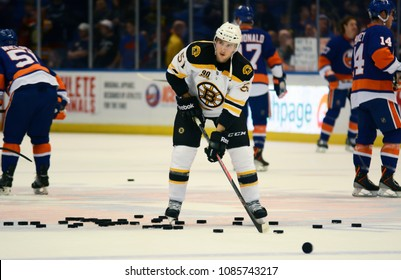 UNIONDALE, NEW YORK, UNITED STATES – Nov. 2, 2013: NHL Hockey: Ryan Spooner, of the Boston Bruins, during warm-ups. Bruins vs. New York Islanders at Nassau Veterans Memorial Coliseum.