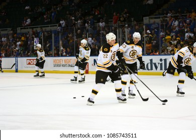 UNIONDALE, NEW YORK, UNITED STATES – Nov. 2, 2013: NHL Hockey: Boston Bruins players during warm-ups prior to a game against the New York Islanders at Nassau Veterans Memorial Coliseum.