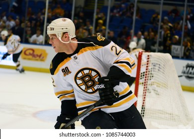 UNIONDALE, NEW YORK, UNITED STATES – Nov. 2, 2013: NHL Hockey: Shawn Thornton, of the Boston Bruins, during warm-ups. Bruins vs. New York Islanders at Nassau Veterans Memorial Coliseum.