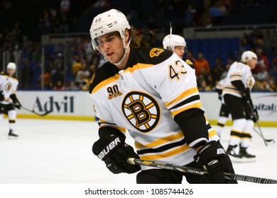 UNIONDALE, NEW YORK, UNITED STATES – Nov. 2, 2013: NHL Hockey: Matt Bartkowski, of the Boston Bruins, during warm-ups. Bruins vs. New York Islanders at Nassau Veterans Memorial Coliseum.