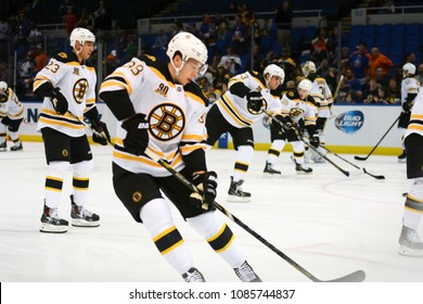 UNIONDALE, NEW YORK, UNITED STATES – Nov. 2, 2013: NHL Hockey: Jordan Caron, of the Boston Bruins, during warm-ups. Bruins vs. New York Islanders at Nassau Veterans Memorial Coliseum.