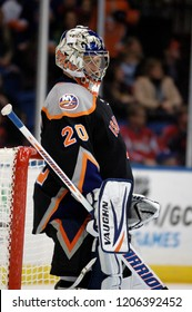UNIONDALE, NEW YORK, UNITED STATES – March 9, 2013: NHL Hockey: Goalie Evgeni Nabokov of the New York Islanders during a game against the Washington Capitals at Nassau Coliseum.