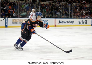UNIONDALE, NEW YORK, UNITED STATES – March 9, 2013: NHL Hockey: David Ullstrom, of the New York Islanders, during a game between the Islanders and Washington Capitals at Nassau Coliseum.
