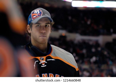 UNIONDALE, NEW YORK, UNITED STATES – March 9, 2013: NHL Hockey: Goalie Kevin Poulin of the New York Islanders between periods of a game between Islanders and Washington Capitals at Nassau Coliseum.