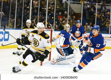 UNIONDALE, NEW YORK, UNITED STATES – Nov. 2, 2013: NHL Hockey: Game action between the Boston Bruins and New York Islanders at Nassau Coliseum.