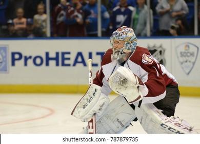 UNIONDALE, NEW YORK, UNITED STATES – FEB 8, 2014: NHL Hockey: Semyon Varlamov, of the Colorado Avalanche during warm-ups. Avalanche vs. New York Islanders at Nassau Veterans Memorial Coliseum.