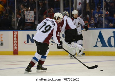 UNIONDALE, NEW YORK, UNITED STATES – FEB 8, 2014: NHL Hockey: Nathan MacKinnon, of the Colorado Avalanche during warm-ups. Avalanche vs. New York Islanders at Nassau Veterans Memorial Coliseum.