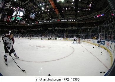 UNIONDALE, NEW YORK, UNITED STATES – FEB 8, 2014: NHL Hockey: A fish-eye view of the Colorado Avalanche during warm-ups prior to a game between the Avalanche and New York Islanders. Matt Duchene (#9).