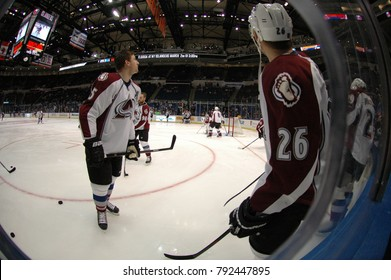 UNIONDALE, NEW YORK, UNITED STATES – FEB 8, 2014: NHL Hockey: Fish-eye view of Colorado Avalanche during warm-ups prior to game between Avalanche and New York Islanders. Paul Stastny #26.