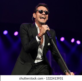 UNIONDALE, NY - FEB 23: Singer Marc Anthony performs in concert at NYCB Live, Home of the Nassau Veterans Memorial Coliseum on February 23, 2019 in Uniondale, New York.