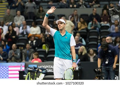 Uniondale, NY - February 17, 2018: Sam Quarrey of USA celebrates victory in semifinal match against Adrian Mannarino of France at ATP 250 New York Open at Nassau Coliseum