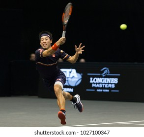 Uniondale, NY - February 17, 2018: Kei Nishikori of Japan returns ball during semifinal match against Kevin Anderson of South Africa at ATP 250 New York Open at Nassau Coliseum