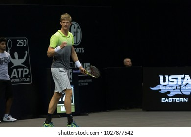 Uniondale, NY - February 18, 2018: Kevin Anderson of South Africa reacts during final of New York Open ATP 250 tournament against Sam Querrey of USA at Nassau Coliseum