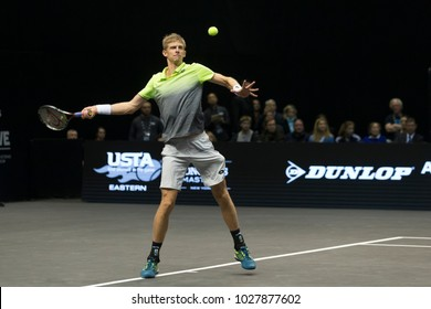 Uniondale, NY - February 18, 2018: Kevin Anderson of South Africa returns ball during final of New York Open ATP 250 tournament against Sam Querrey of USA at Nassau Coliseum