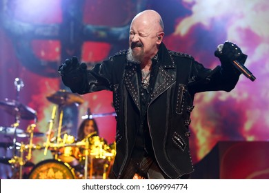 UNIONDALE, NY - MAR 17: Rob Halford of Judas Priest performs in concert at NYCB Live Nassau Coliseum on March 17, 2018 in Uniondale, New York.