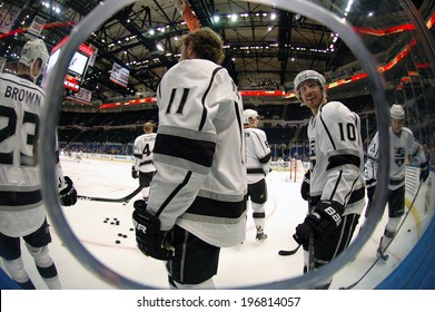 UNIONDALE, NY - NOV 14 A fisheye view of Mike Richards (#10), Anze Kopitar (#11), Dustin Brown (#23) of the Los Angeles Kings. During warm-ups prior to the game between the Kings and New York Islanders on Nov. 14, 2013.