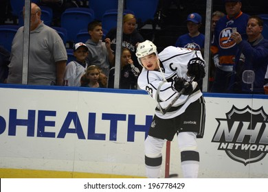 UNIONDALE, NY - NOV 14 Los Angeles Kings forward Dustin Brown (C) during warm-ups prior to the start of the game between the Kings and New York Islanders Nov. 14, 2013 at Nassau Veterans Memorial Coliseum in Uniondale, N.Y.