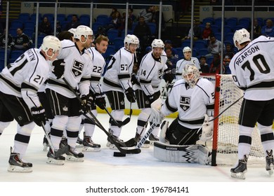 UNIONDALE, NY - NOV 14 Los Angeles Kings players during warm-ups prior to the start of the game between the Kings and New York Islanders Nov. 14, 2013 at Nassau Veterans Memorial Coliseum in Uniondale, N.Y.