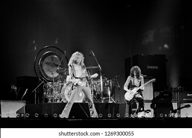 Uniondale, NY / USA - February 13, 1975: Robert Plant and Jimmy Page of legendary rock band Led Zeppelin perform at Nassau Coliseum on their 1975 North American tour.