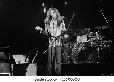 Uniondale, NY / USA - February 13, 1975: Robert Plant of Led Zeppelin performs at Nassau Coliseum during their 1975 North American tour.