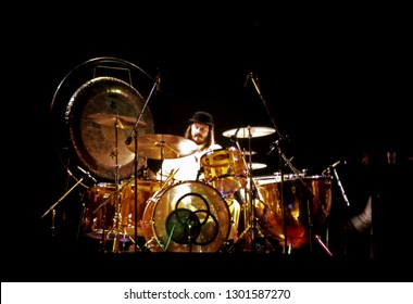 "Uniondale, NY/USA - February 13, 1975: Legendary drummer John ""Bonzo"" Bonham of Led Zeppelin performs at Nassau Coliseum on the band's 1975 North American tour."