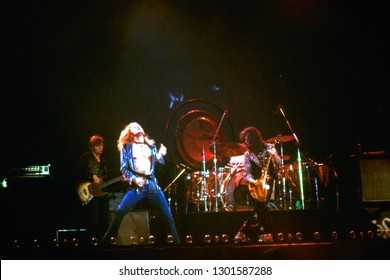 Uniondale, NY/USA - February 13, 1975: Legendary rock band Led Zeppelin perform at Nassau Coliseum on their 1975 North American tour.