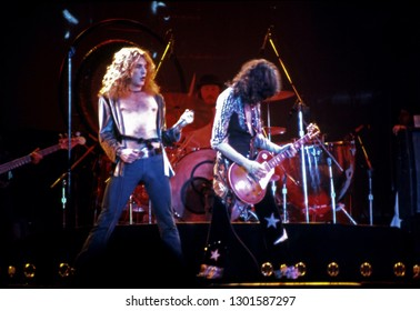 Uniondale, NY/USA - February 13, 1975: Robert Plant and Jimmy Page of Led Zeppelin perform at Nassau Coliseum on their 1975 North American tour.