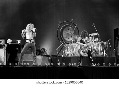 Uniondale, NY/USA - February 13, 1975: Robert Plant and Jimmy Page of legendary rock band Led Zeppelin perform on their 1975 North American tour.