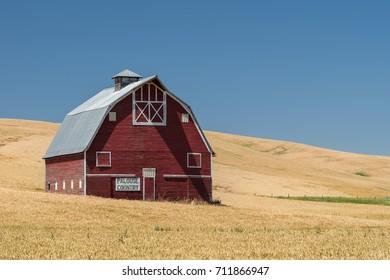 UNIONTOWN, WASHINGTON - JULY 25: Palouse Country barn off Highway 195 on July 25, 2017 in Uniontown, Washington