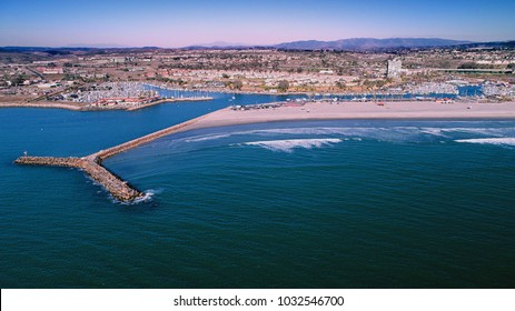 Unique aerial perspective of the Oceanside harbor in north county San Diego California