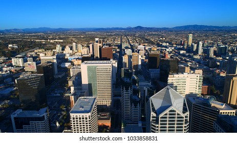 Unique aerial view of downtown San Diego California