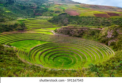 Unique ancient Inca circular terraces at Moray (agricultural experiment station), Peru, South America