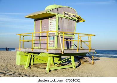 unique architecture lifeguard station hut on Atlantic Ocean South Beach Miami Florida USA horizontal