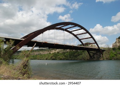 "Unique ""Austin's 360 Bridge"" also known as the ""Austin Pennybacker Bridge"" overlooking townlake along the Colorado River"