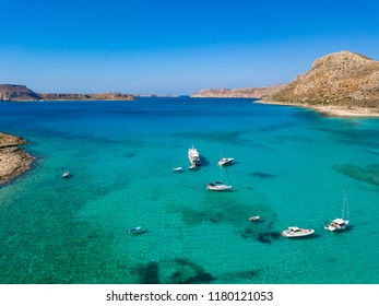 A unique beach in the protected area of Balos Beach. Aerial view from drone. Crete. Greece.