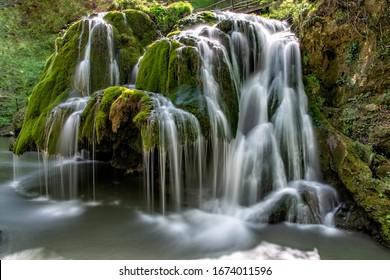 The unique beautiful Bigar waterfall full of green moss, Bozovici, Caras-Severin, Romania