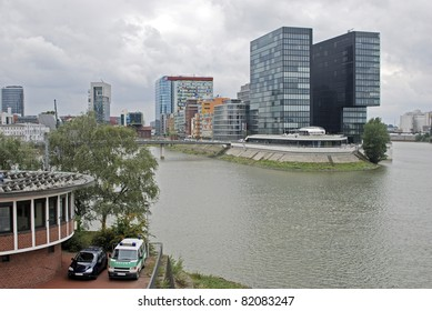 Unique building designs, Media Harbour, Dusseldorf, Germany