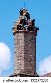 Unique chimney downtown Bruges, Belgium.