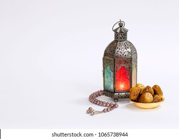 Unique coloered lantern with dates food