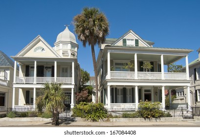 Unique colonial era houses on Battery Street, built in the eighteenth century, in Charleston, South Carolina.