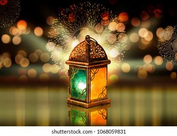 Unique Colored lantern with bokeh background