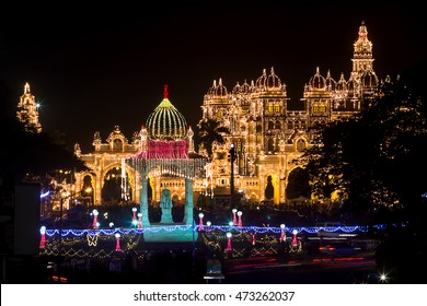 An unique composition of the royal Mysore Palace, India decked up for the festival of Dasara